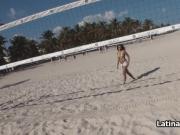 Beach bikini teen riding cock pov style