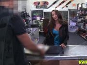 Sexy rocker chick getting fuck in the shop for rent money