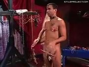 Guy With Cock & Nipple Clamps Barks Like A Dog