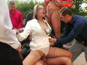 Slut with glasses gets gangbanged
