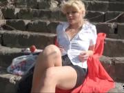 Hot blonde Eurobabe Kitty Rich pussy screwed for money