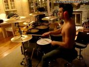 adam gray - having fun drumming in the living room