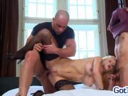 Big tit blonde in a threesome