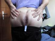 Mr BigHOLE Gaped by Thick Black Dildo
