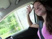 Hitchhiking teen flashing her tits