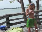Foursome fucking on a sunny public pier