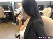 Sexy Big Tit Ebony Chick Teasing On Cam In Office