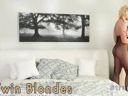 Twin blonde lesbians strap on fucking