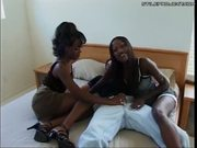 two hot black chicks on one white guy with anal!