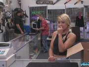 Blonde amateur trying to pawn her puppies but was banged