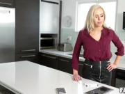 Blond chick Nina Elle spread her legs to fuck