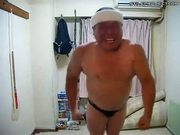 Fat almost naked Japanese Man dancing to Jap Pop