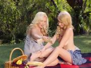 Lesbian Blondes Grope Each Others Sexy Body