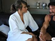 Big tits masseuse gives nice nuru massage and gets screwed