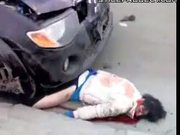 horrible car accident - body parts everywhere