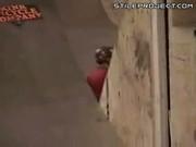 Rollerblade Skater Ramp Trick Jump Fail