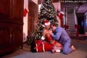 Blonde Santa gets ass fucked under the tree
