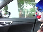 Clown teen sucks cock outdoor pov