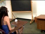Jerk loving teenager spoiling teachers cock
