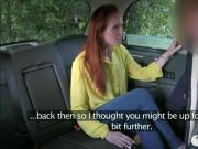 Pretty amateur red haired chick banged by fake driver