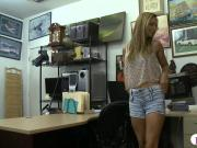 Pretty blonde babe with glasses pounded by pawn dude