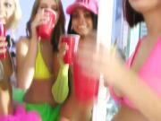 Sexy amateur teens party on the town