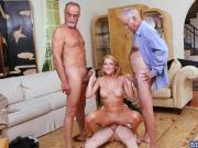 Sexy sales agent Raylin Ann orgy with old guys