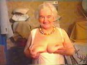 Happy Granny shows her big boobs on webcam skype