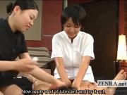 Subtitled CFNM Japanese penis massage explosive cumshot