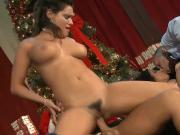 Latina babes with big boobs fuck Santa and his helper