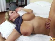 Busty blonde chick big dong doggy style missionary