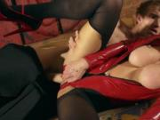 Squirt lover in leather tries anal sex