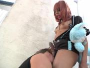 Ebony black shemale tranny sucked by guy