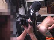 Pawnshop spycam straight guy in threeway