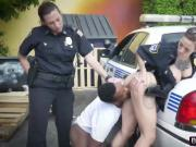 Big titted police officers pull over an innocent man and bang him in public