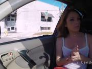 Redhead teen hitchhiker sucking in the car