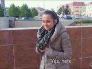 Beautiful Czech girl Ashley Woods screwed in public for cash
