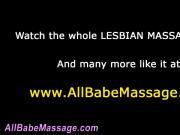 Lesbian masseuse guides babe