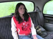 Beautiful natural babe banged in fake taxi in public