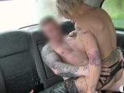 Massive boobs tattooed woman gets stuffed in the cab