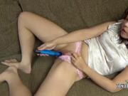 Yuka Ozaki is playing with her big blue toy