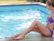 Curvy babe Clover rubbing her sweet clit by the poolside