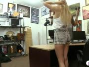 Pretty blond babe banged by pawn keeper at the pawnshop
