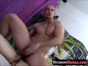 Big boobed MILF fucks her man with strap on