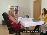 Blonde agent fingers petite brunette in casting