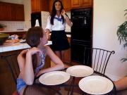 Sexy milf and teen slut shared a hard cock in the kitchen