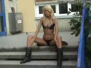 Nice blond girl masturbate at school