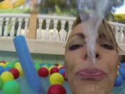 Blonde amateur skanks kissing in pool