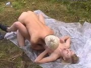 Russian teen Mika fucked outdoors