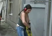 huge titty slut using a jackhammer